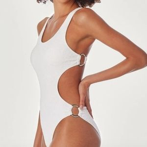 Cupshe XL nwt white lace pattern swimsuit